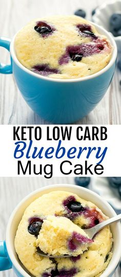 Keto Low Carb Blueberry Mug Cake. This fluffy light cake is studded with blueber… Keto Low Carb Blueberry Mug Cake. This fluffy light cake is studded with blueberries. It cooks in the microwave and is ready in about 5 minutes. Low Carb Mug Cakes, Keto Mug Cake, Low Carb Desserts, Low Carb Recipes, Low Calorie Mug Cake, Cake In Mug, Keto Mug Bread, Keto Pancakes, Frozen Desserts