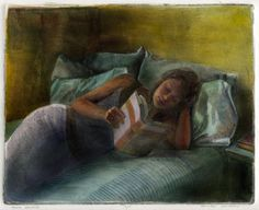 Book Escape, Drypoint Engraving of a young woman reading in bed