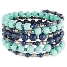Turquoise and Blue Bead Coil Bracelet - Fits every size wrist!