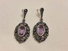 Vintage 925 Sterling Silver Marcasite Amethyst Dangle Drop Earrings