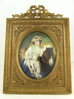 Antique French Hand Painted Miniature Ivory Portrait of The Milkmaid in Gilt Bronze Frame