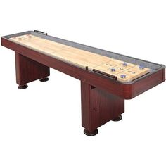 Shop Challenger 9-Ft Shuffleboard Table - Dark Cherry Finish - Overstock - 6217673 Mdf Cabinets, Storage Cabinets, Shuffleboard Table, Diy Table Saw, Cherry Finish, Table Dimensions, Table Games, Built In Storage, Poker Table