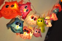 20 Mixed Owl Mulberry paper Lantern String Lights by smilelights