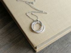 Three Rings Necklace Sterling Silver 3 Circles by JewelleryJKW