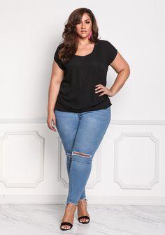 f845ee20cd6b42 Plus Size Chiffon Side Gathered Blouse Erica Lauren