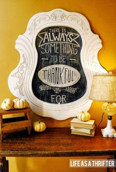 Thanksgiving quote via Life as a Thrifter  #chalkboard #thankful #thanksgiving #pumpkins