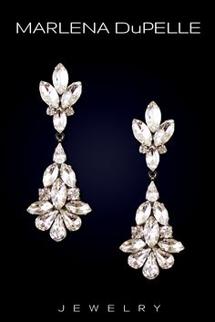 Stunning teardrop crystal earrings. The Camille signature design of Marlena Dupelle.