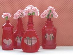 gather your old plastic dish soap bottle, paint with the colour you like most... and create wonderful vases for your flowers