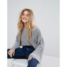 Pull&Bear Ribbed Crop Sweater (2,405 INR) ❤ liked on Polyvore featuring tops, sweaters, grey, oversized sweaters, gray crop top, crop top, boat neck sweater and grey cropped sweater