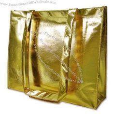Looking for Custom Gold Metallic #NonWoven #ShoppingBag, Visit #Promotionalgiftwholesale