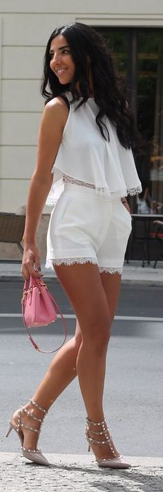 White Lace Trim Short And Top Set by Duygu Senyurek