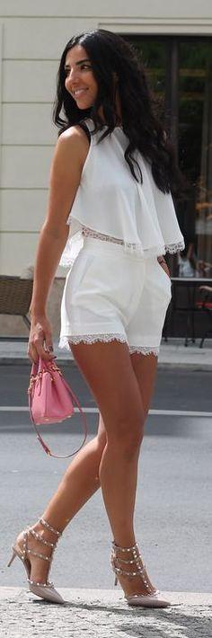 White Lace Trim Short And Top Set by Duygu Senyurek