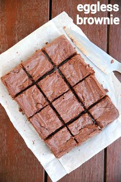 brownie recipe, chocolate brownies, eggless brownie recipe with step by step photo/video. square shaped dessert recipe with cooking chocolate & plain flour. Eggless Recipes, Eggless Baking, Easy Cake Recipes, Sweet Recipes, Baking Recipes, Snack Recipes, Easy Eggless Brownie Recipe, Snacks, Chocolate Dishes