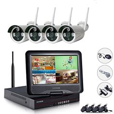 HD Wireless Security Camera WiFi System 10 LCD Monitor Megapixel Wireless WiFI Waterproof Bullet IP Surveillance Cameras Plug and Night Vision No Hard Drive ** To view further for this item, visit the image link-affiliate link. Wireless Ip Camera, Wireless Security Cameras, Wireless Home Security Systems, Security Cameras For Home, Security Alarm, Safety And Security, Security Monitoring, Ip Camera System, Camera Surveillance System