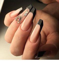 Nail Shapes - My Cool Nail Designs Edge Nails, Gorgeous Nails, Pretty Nails, Pretty Eyes, Aquarium Nails, Gel Nails French, Black French Nails, French Hair, Nailed It