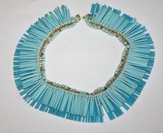 Vintage Necklace Blue Fringe Bib Plastic 1950s Jewelry by patwatty, $30.00