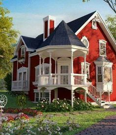 Red House Paint Designs Innovative Victorian Cottage Homes in attachment with category Design Victorian Style Homes, Victorian Cottage, Victorian Homes Exterior, Victorian Farmhouse, Modern Victorian, Vintage Modern, Red Houses, Red Cottage, Cute House
