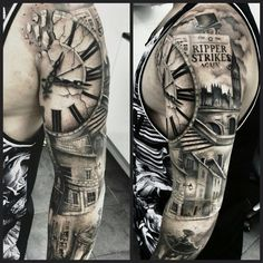 What does clock tattoo mean? We have clock tattoo ideas, designs, symbolism and we explain the meaning behind the tattoo. Great Tattoos, Body Art Tattoos, New Tattoos, Sleeve Tattoos, Tattoos For Guys, Tattoo Sleeves, Tatoos, Amazing Tattoos, Clock Tattoo Sleeve