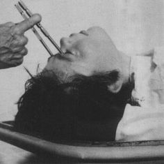 "Frontal Lobotomy: From the Greek lobos and tomos, meaning ""lobe"" and ""slice/cut"" respectively. I'd rather have A Bottle In Front of Me, than A Frontal Lobotomy. Nocturne, Psychiatric Hospital, Insane Asylum, Psy Art, Vintage Medical, Medical History, Medical Equipment, Mental Illness, Macabre"