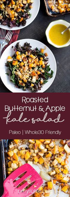 This roasted butternut squash & apple kale salad is perfect for a paleo dinner! Try adding the Vital Proteins Collagen Peptides to your dressing for an extra boost of protein! Squash Salad, Kale Salad, Whole 30 Recipes, Whole Food Recipes, Healthy Recipes, Paleo Butternut Squash, Apple Salad Recipes, Menu Dieta, Plat Simple