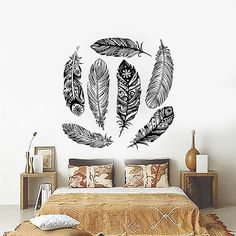 Dream Catcher Decal Feather Sticker Boho Dreamcatcher Wall Decals for Bedroom Nursery Bohemian Bedding Hippie Decor Ah100
