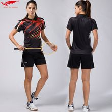 2017 Quick dry table tennis clothing women badminton shirt badminton clothes (shirt + shorts) suits, lady sports fitness tennis(China)