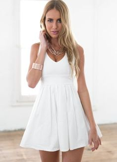 5bc718cb2758 thumbnail - White Sleeveless Mini Dress with Open Cross Bow Back