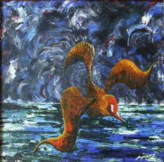 "Marian Lupu LUPINO -Email: mlupubm@yahoo.com -""Tigerbird""(Pasare tigru)-oil on canvas-40x40 cm-2400$"