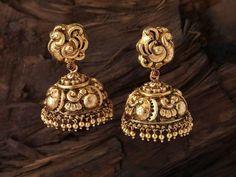 "Photo from Antara Jewellery ""Portfolio"" album Gold Jhumka Earrings, Jewelry Design Earrings, Gold Earrings Designs, Gold Jewellery Design, Antique Earrings, Jhumka Designs, Indian Earrings, Jewellery Rings, Gold Temple Jewellery"