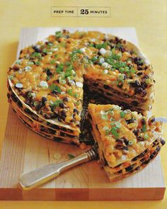 Tortilla and Black Bean Pie - under 25 minutes for prep