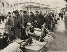 'Clacton Disturbances', taken in March 1963 by C Smith for the Daily Herald.    The photograph shows a group of mods near the seafront at Clacton-on Sea, Essex. 100 arrests were made over the Easter weekend of 27-30 March 1964 in Clacton, following clashes between groups of mods and rockers. Mods and rockers were youth subculture groups in the 1960s, members of the two groups regularly came together at seaside towns, often resulting in fighting and riots.