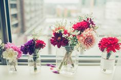 pretty flowers in jars // photo by Carly Bish
