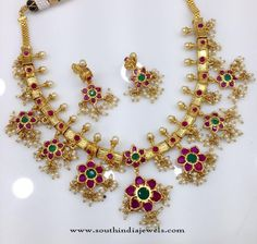 One Gram Gold Ruby Guttapusalu Necklace Models, Ruby Guttapusalu Necklace Designs, Ruby Pearl Necklace Collections.