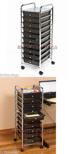 Craft Carts 146400: 3 Black Drawer Plastic Portable Rolling Storage Cart  Chrome Metal Frame W Wheels  U003e BUY IT NOW ONLY: $50.88 Ou2026
