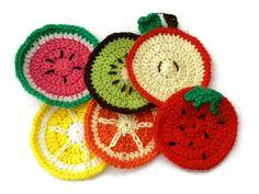 Funky Fruit Coasters Set of 6 Lemons Oranges by PurpleSmoothie