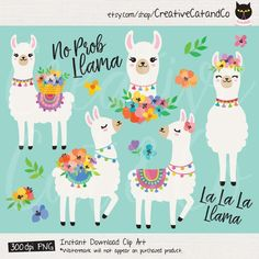 Cute Llamas with Spring Flowers Clipart, Spring Alpaca Llama Illustration Clipart Clip Art Set, Commercial Use – Digistamps Clipart Baby, Llama Clipart, Cute Animal Clipart, Alpacas, Cute Alpaca, Llama Alpaca, Alpaca Illustration, Llamas Animal, Llama Drawing