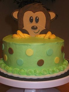 Simple Baby Shower Cake Designs | of the monkey baby shower cake I've done in the past! Chocolate cake ...