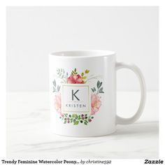 Trendy Feminine Watercolor Peony Flowers Monogram