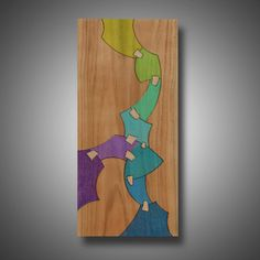 """Original Abstract Art, Wood Burned, Colored with Prismacolor Pencil, """"Recovering"""" 10.75"""" x 24"""""""