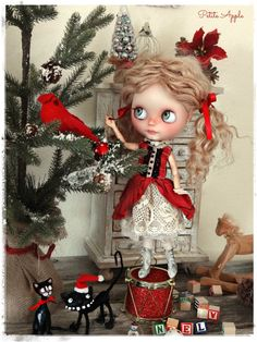 """Blythe doll dress """"Holidays memories"""" outfit - vintage style"""