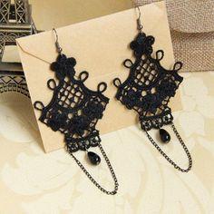 Pair of Retro Flower Bead Tassel Openwork Design Earrings For Women