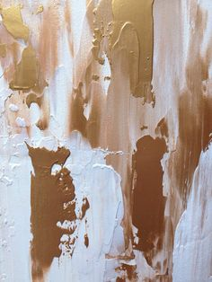 Abstract Painting Gold and White Ikat by JenniferFlanniganart