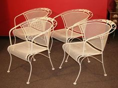 4 Vintage Woodard Art Deco Style Floral Scupltural Wrought Iron Patio Arm  Chairs