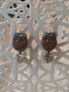 Czech Glass Owl and Leaf Earrings by MeiCustosAngele on Etsy