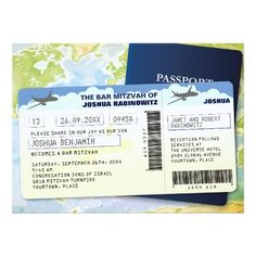 Travel Documents Bar or Bat Mitzvah Card