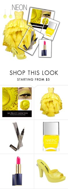 """Bright Eyes: Neon Beauty contest"" by empathetic ❤ liked on Polyvore featuring beauty, Mikael D, Teeez, Nails Inc., Estée Lauder, Melissa and Alexis Bittar"