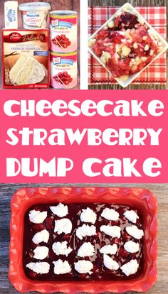 Strawberry and Cream Cheese Dump Cake Recipe!  Just 4 ingredients and you've got one of the BEST desserts you'll ever make!  With sweet strawberries, rich cream cheese, and a buttery crumble topping, it's irresistible!  Go grab the recipe and give it a try this week! Dump Cakes, Dump Cake Recipes, Sweets Recipes, Cooking Recipes, Easy Summer Desserts, Easy Desserts, 4 Ingredient Desserts, Cookie Dough Recipes, Sheet Cakes