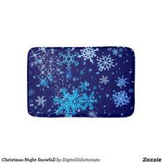 Christmas Night Snowfall Bath Mat