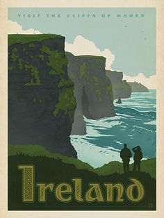 Ireland: Cliffs of Moher - Our latest series of classic travel poster art is called the World Travel Poster Collection. We were inspired by vintage travel prints from the Golden Age of Poster Design (a glorious period spanning the late-1800s to the mid-1900s.) So we set out to create a collection of brand new international prints with a bold and adventurous feel.