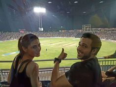 """therealemraan: """"Watching #RPSvsMI Live in Pune with the lovely @NargisFakhri. The buzz here is absolutely amazing!"""""""